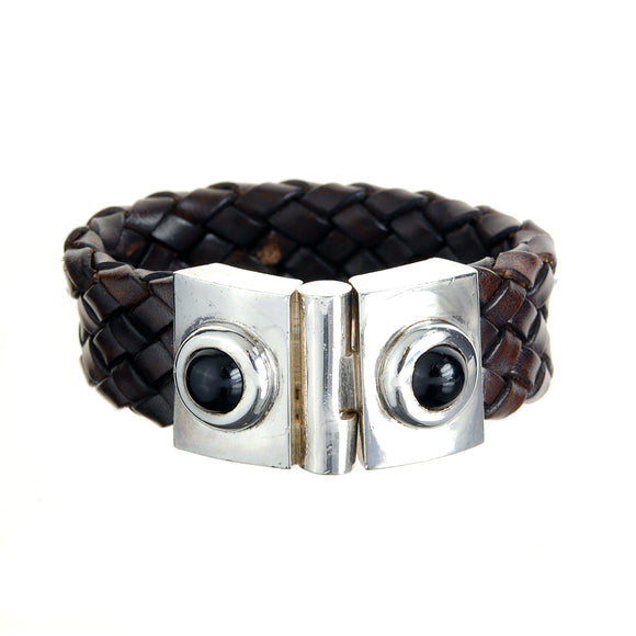 Silver Leather Bracelet and Round Onyx