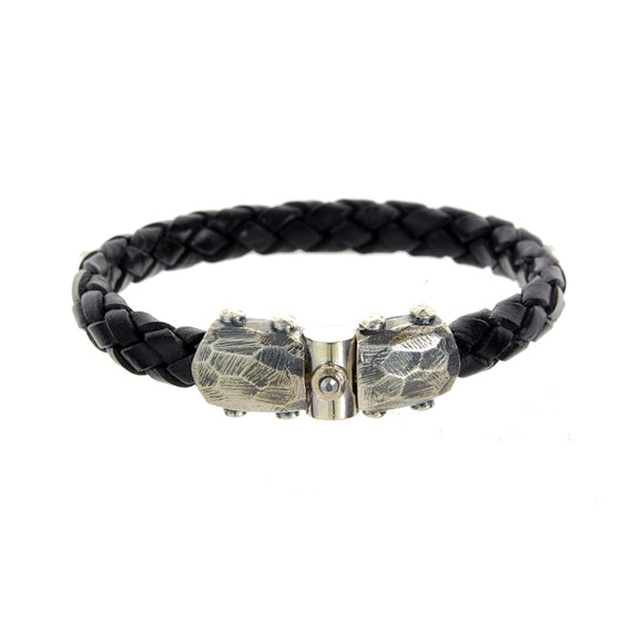 Silver Leather Bracelet PLAIN Facetted Silver Jointlock with METEORITE 10