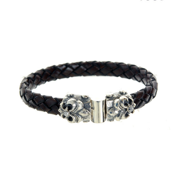 Silver Leather Bracelet LILY and METEORITE Facetted Jointlock 10