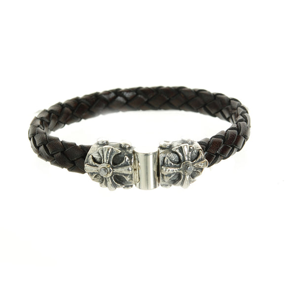 Silver Leather Bracelet MALTESER CROSS with METEORITE Facetted Silver Jointlock 10