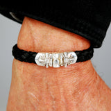 Silver Leather Bracelet SPROUTS STAR with METEORITE Jointlock 10