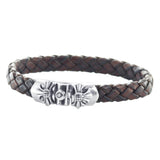 Silver Leather Bracelet MALTESER CROSS with METEORITE Jointlock 10