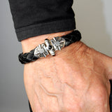 Silver Leather Bracelet SPROUTS STAR SHIP Jointlock with Stones 13