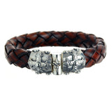 "Silver Leather Bracelet ""Smith Cross"" Jointlock facetted 13"