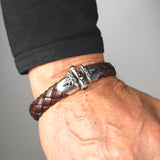 Silver Leather Bracelet CRESCENT STAR Ship Jointlock 13