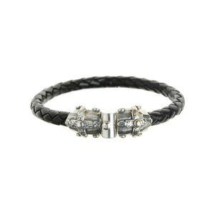 "Silver Leather Bracelet ""Lance Cross"" Jointlock Facetted 7"