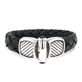 Silver Leather Bracelet STRIPES PLAIN 13