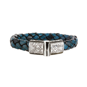 "Leather Bracelet ""Garden At Night"" Engraved Jointlock 13"