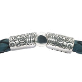 Silver Leather Bracelet GARDEN AT NIGHT Engraved Jointlock 13