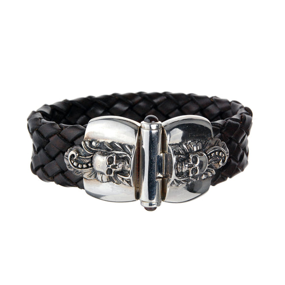 Silver Leather Bracelet Magic Plant with Skull  Jointlock