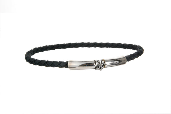 Silver Leather Bracelet PLAIN SLIM  4