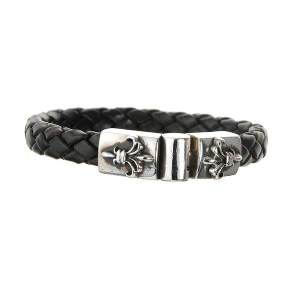 Silver Leather Bracelet Plain