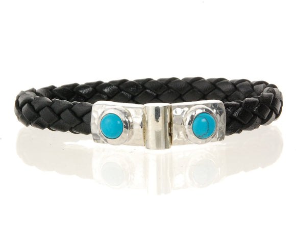Leather Bracelet Hammered Jointlock Round Turquoise