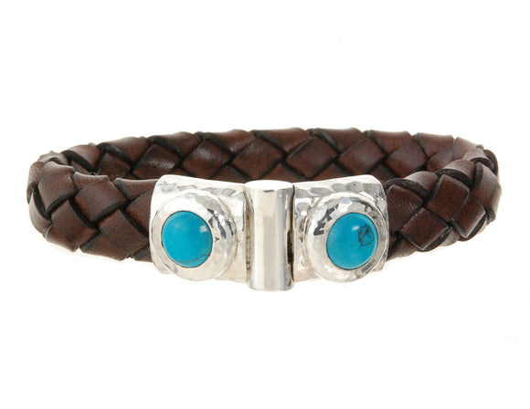 Silver Leather Bracelet Hammered Jointlock Round Turquoise 7