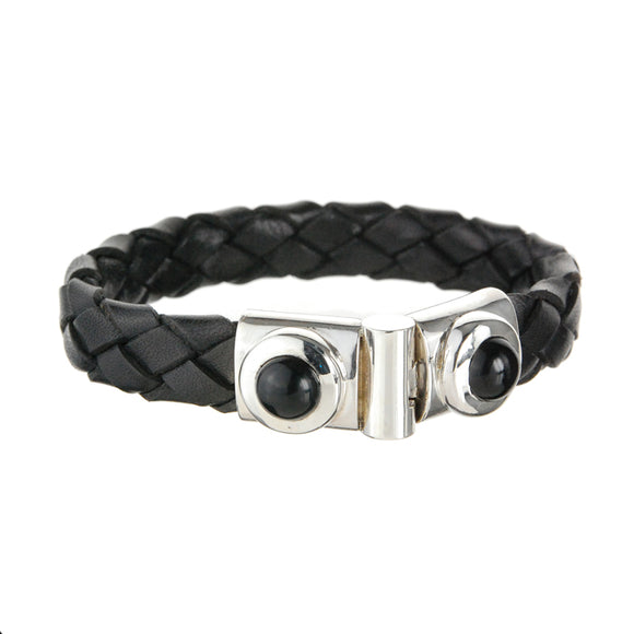 Silver Leather Bracelet and Round Fat Frame with Onyx