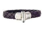 Silver Leather Bracelet GARDEN AT NIGHT Engraved 13