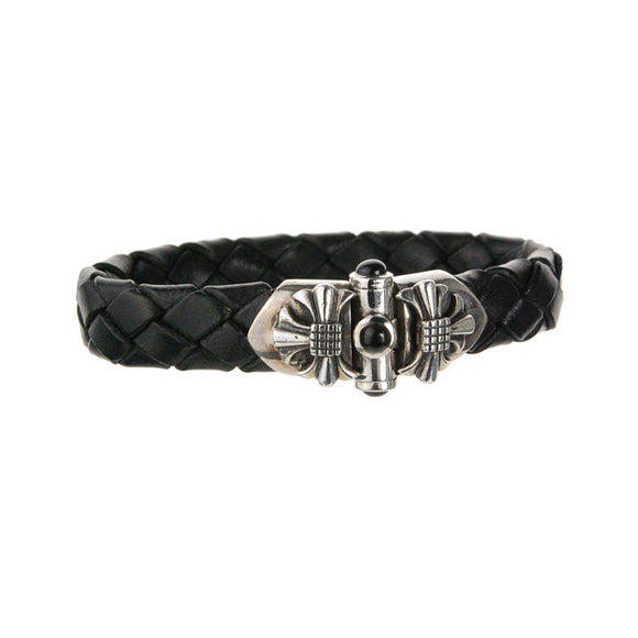 Silver Leather Bracelet Sprouts Star