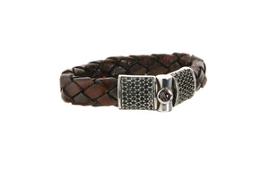 Silver Leather Bracelet Jointlock ROYAL and STONE 13
