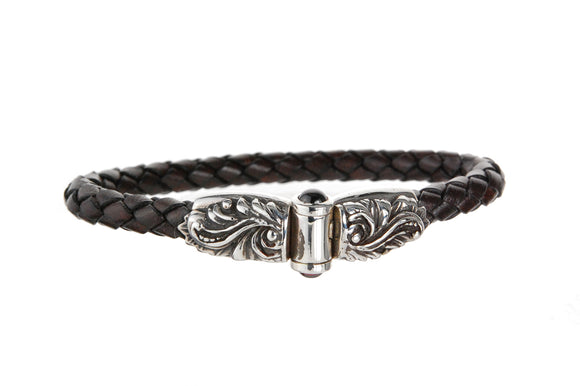 Silver Leather Bracelet MAGIC PLANT Jointlock 7