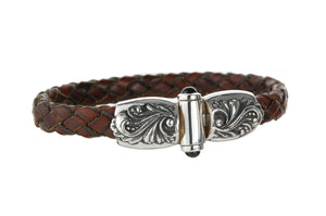 Silver Leather Bracelet MAGIC PLANT Jointlock 10