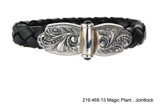 Silver Leather Bracelet MAGIC PLANT 13