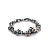 Silver Bracelet Clasplock SKULL and Malteser Crosses