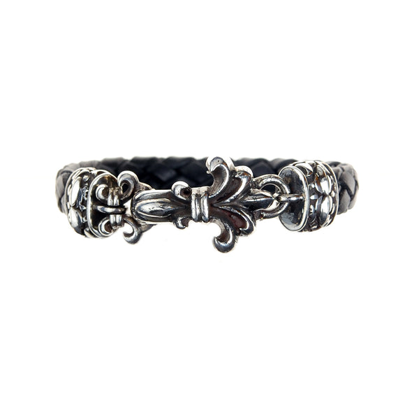 Silver Leather Bracelet LILY with GARDEN AT NIGHT 10