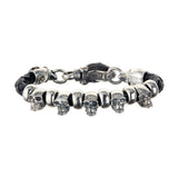 "Leather Bracelet ""Skull""ClasplockSL small Skulls tubes 6"
