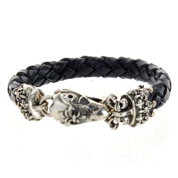 Silver Leather Bracelet EAGLE SKULL S 10