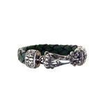 "Silver Leather Bracelet ""Eagleskull"" M 13"