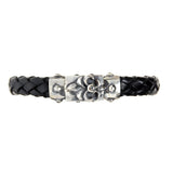 Silver Leather Bracelet LILY Facetted Boxlock METEORITE 10