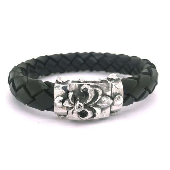 Silver Leather Bracelet LILY and METEORITE Boxlock Facetted 13
