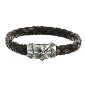 "Leather Bracelet ""Sprouts star"" Facetted Boxlock with ""Meteorite"""