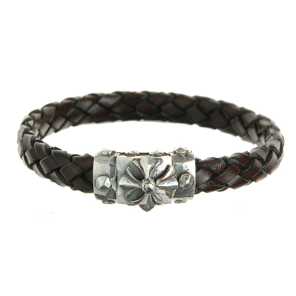 Silver Leather Bracelet MALTESER CROSS Facetted Boxlock with METEORITE 10