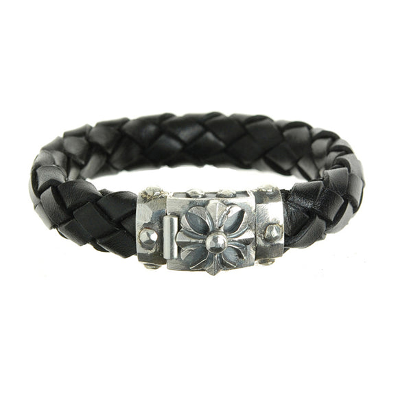 Silver Leather Bracelet MALTESER CROSS Facetted Boxlock with METEORITE 13