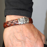 "Silver Leather Bracelet ""Sprouts Star"" Facetted Boxlock with ""Meteorite"" 13"