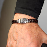 "Silver Leather Bracelet ""Shield"" Boxlock 10"