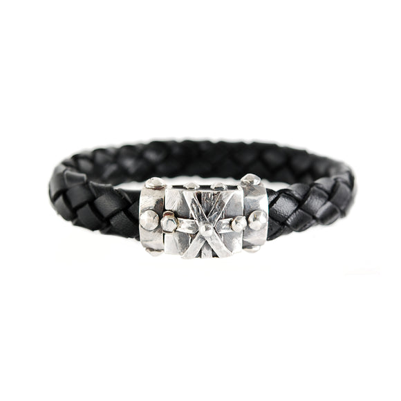 Leather Bracelet CROSS BOUND Facetted Boxlock 13
