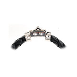 Silver Leather Bracelet CROSS BOUND Facetted Boxlock 10