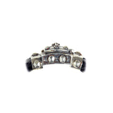 "Silver Leather Bracelet ""Crown""  Facetted Boxlock 13"