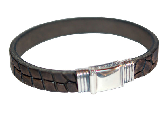 Silver Leather Bracelet plain boxlock