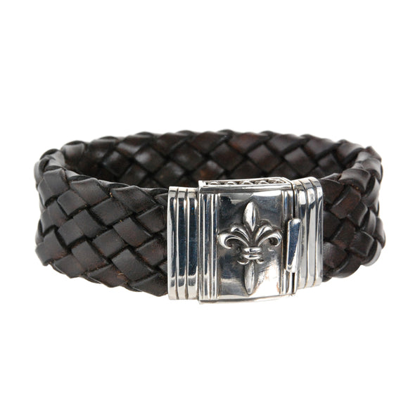 Silver Leather Bracelet LILY Boxlock 22
