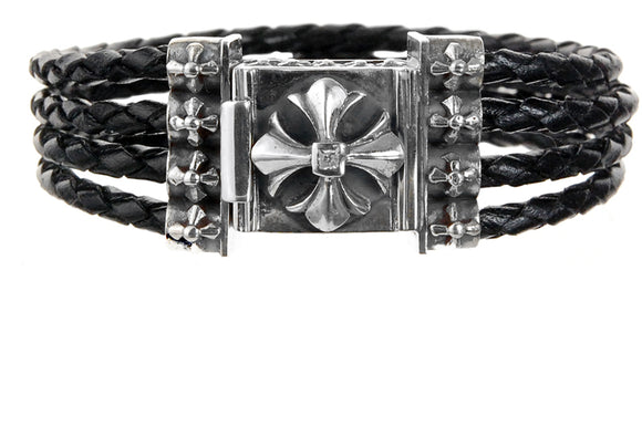 Silver Leather Bracelet Quadro String with