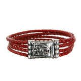 Silver Leather Bracelet SHIELD with METEORITE with Four Strings 3.5