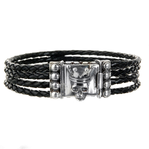 Silver Leather Bracelet CROWNED SKULL Four Strings 3.5