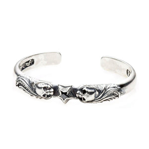 Silver Bangle MAGIC PLANT and SKULL with Star