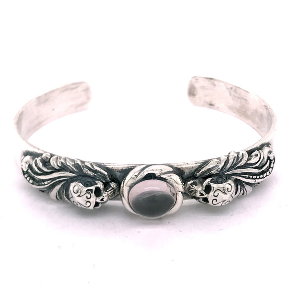 Silver Bangle MAGIC PLANT and SKULL with Oval Stone