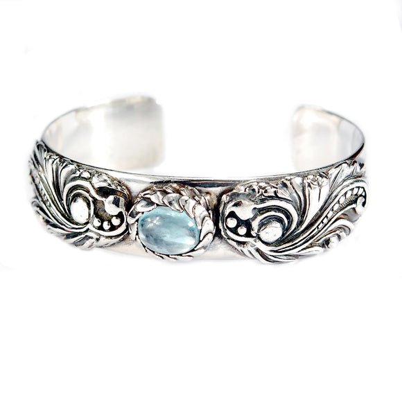 Silver Bangle Magic Plant with Aquamarine
