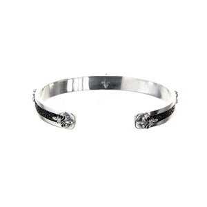 "Silver Bangle Searay Leather Stripe with ""Lilies"""