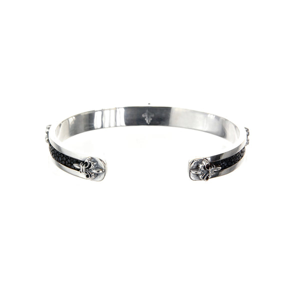 Silver Bangle Searay Leather Stripe with